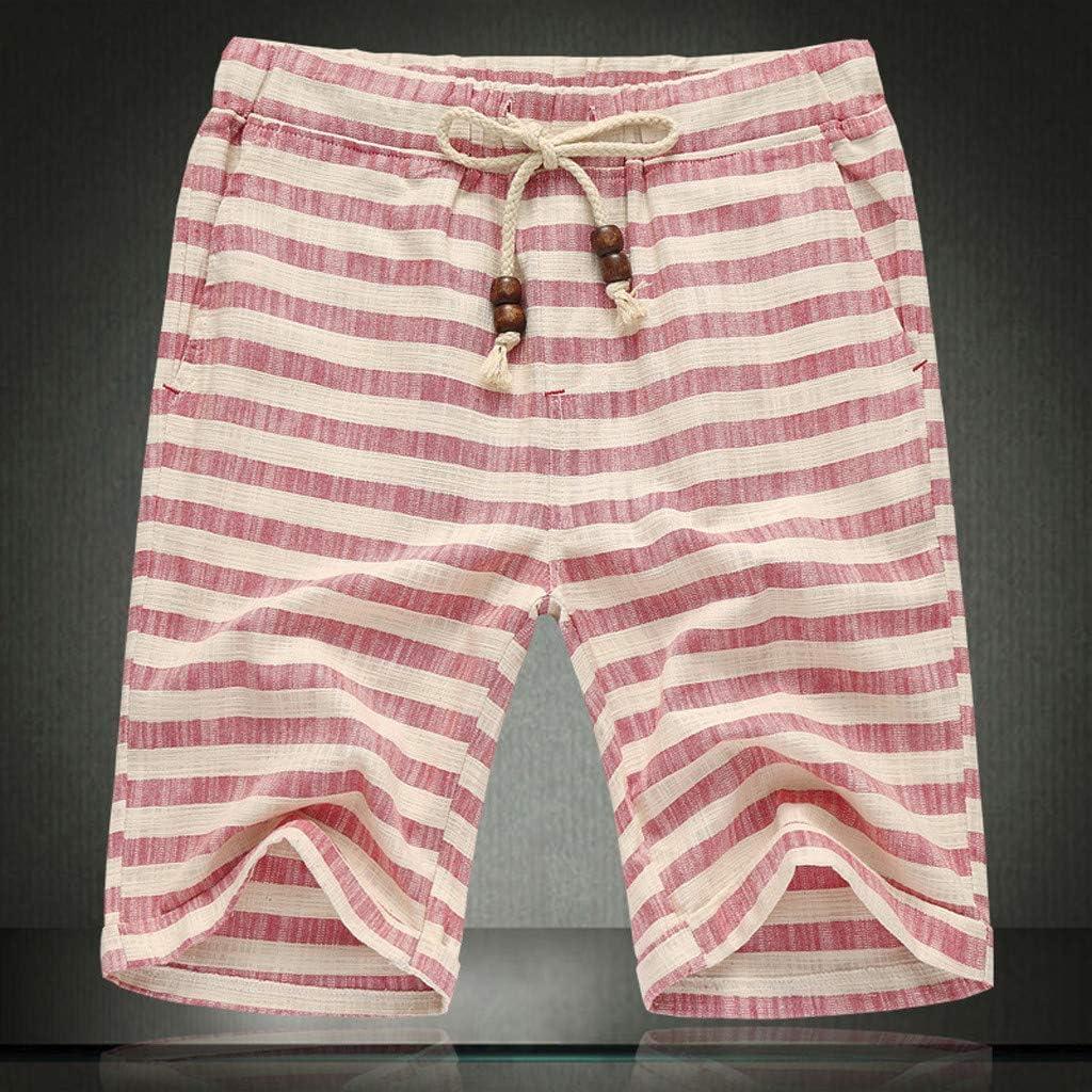 Stripe Print Quick Dry Beach Short Pant QIUUE Casual Short Pants XL, Gray