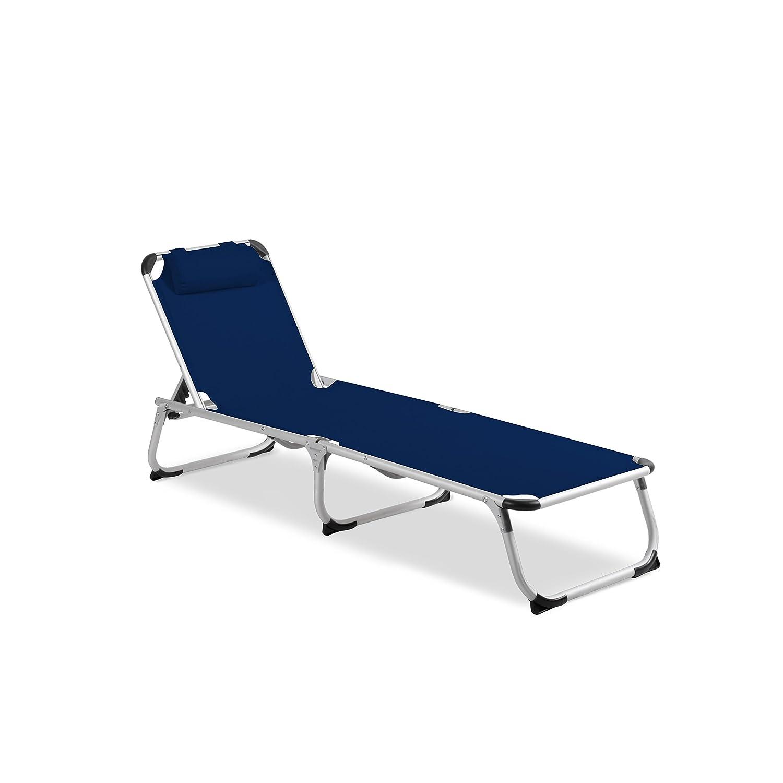 Vanage Gartenliege Helena in blau - Sonnenliege mit Textilbezug und Kissen - Liegestuhl ist klappbar - Gartenmöbel - Strandliege aus Aluminium - Relaxliege für den Garten