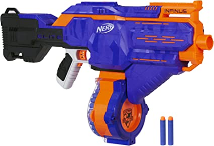 Amazon Com Infinus Nerf N Strike Elite Toy Motorized Blaster With Speed Load Technology 30 Dart Drum And 30 Official Nerf Elite Darts For Kids Teens And Adults Toys Games