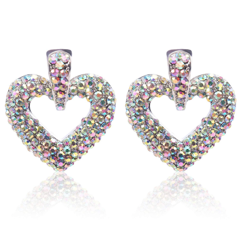 6e16ea5a6 Amazon.com: Women Crystal Pave Heart Stud Earrings - PeriFairy AB  Rhinestone Love Circle Loop Pierced Silver Jewelry: Jewelry