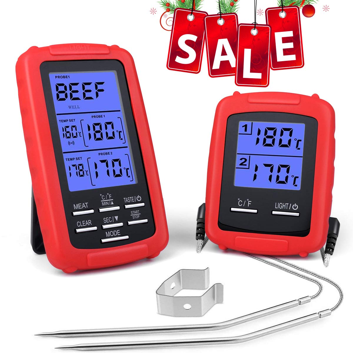 Pansonite Wireless Remote Digital Cooking Food Thermometer Meat Thermometer for Grilling Oven Kitchen Smoker BBQ Grill Thermometer with Dual Probe, 230 Feet Range by Pansonite