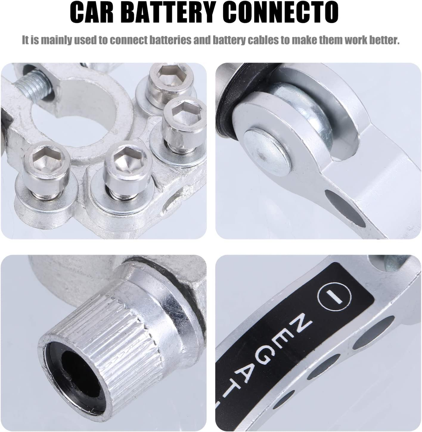 Wakauto Battery Terminals Heavy Duty Positive and Negative Copper Battery Cable Clamp Battery Quick Release Connector for Car Boat Motorcycle Silver
