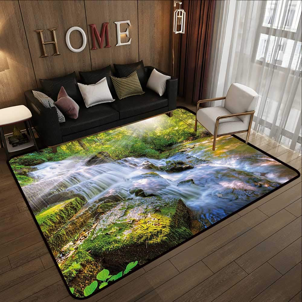 Pattern05 55 x 63 (W140cm x L160cm) Floor mat,Waterfall Decor,Multiple Waterfalls Centered Between Rock Steps with Moss on Them,Brown and White 63 x 94  Indoor Outdoor Rubber Mat