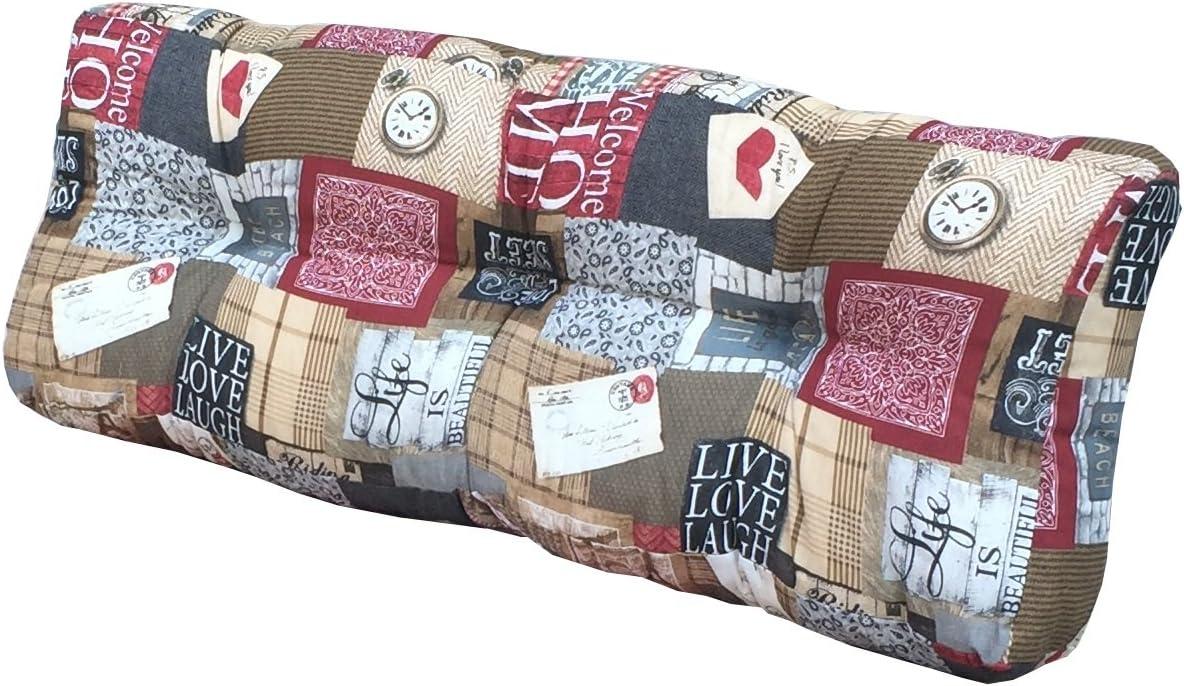 cuscino per seduta divano pallet di legno Cuscino per bancali in morbido tessuto con disegni Schienale 42x120x10-18 cm, 500 ROSSA ITALIA