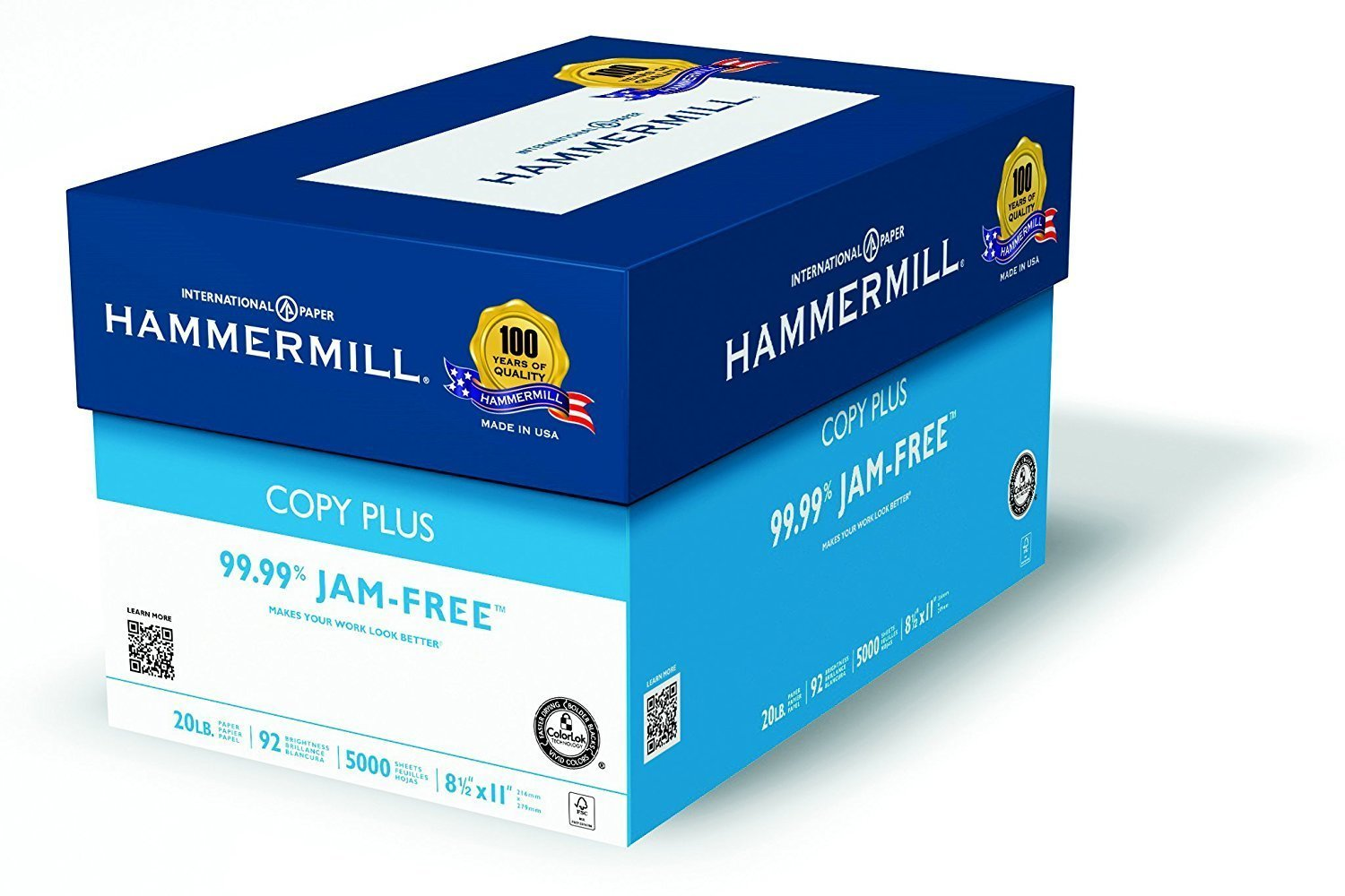 Hammermill Paper, Copy Plus, 20lb, 8.5 x 11, Letter, 92 Bright, 5,000 Sheets / Case (105007), Made in the USA (5000 Sheets (3))