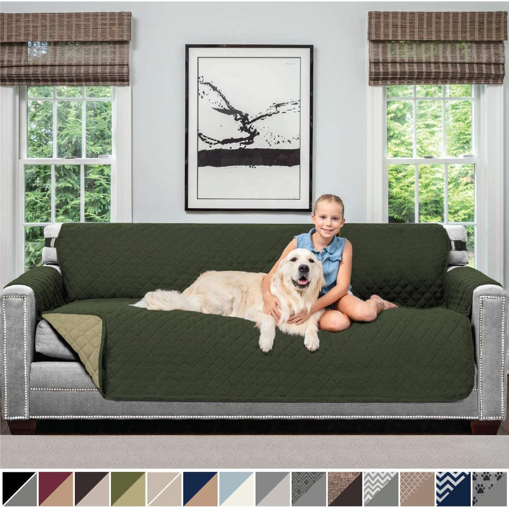 Sofa Shield Original Patent Pending Reversible Oversize Sofa Slipcover, 2 Inch Strap Hook, Seat Width Up to 78 Inch Washable Furniture Protector, Couch Slip Cover, Oversize Sofa, Hunter Green Sage