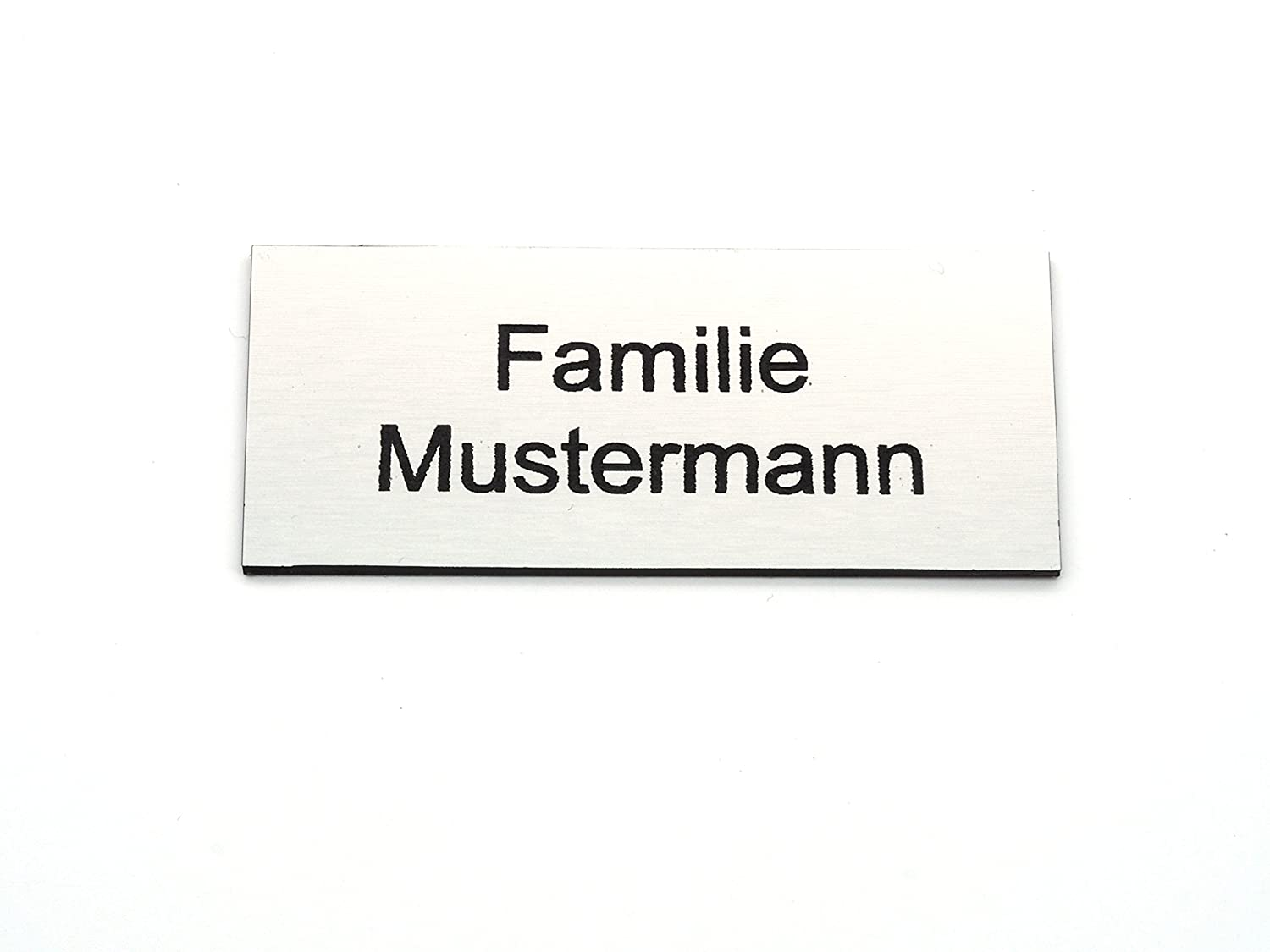 Letterbox sign, door plate, name plate, labels, engraving, self-adhesive, weatherproof, laser engraving, sizes 60 mm x 20 mm and 80 mm x 35 mm, silver CopterFarm