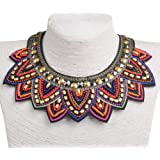 SUMAJU Fabric Colorful Bohemian Acrylic Beads Choker Statement Collar Necklace Colorful Mother's Day Gifts