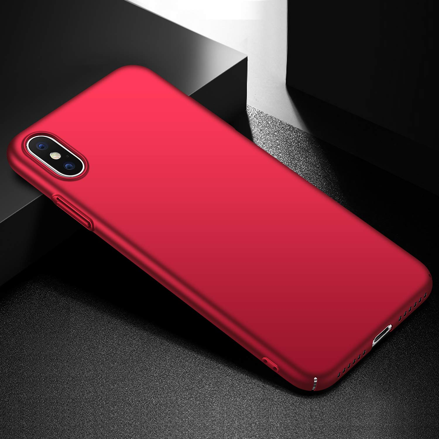 Smooth Red Arkour for iPhone Xs Max Case Minimalist Ultra Thin Slim Fit Cover with Smooth Matte Surface Hard Cases for iPhone Xs Max 6.5 inch