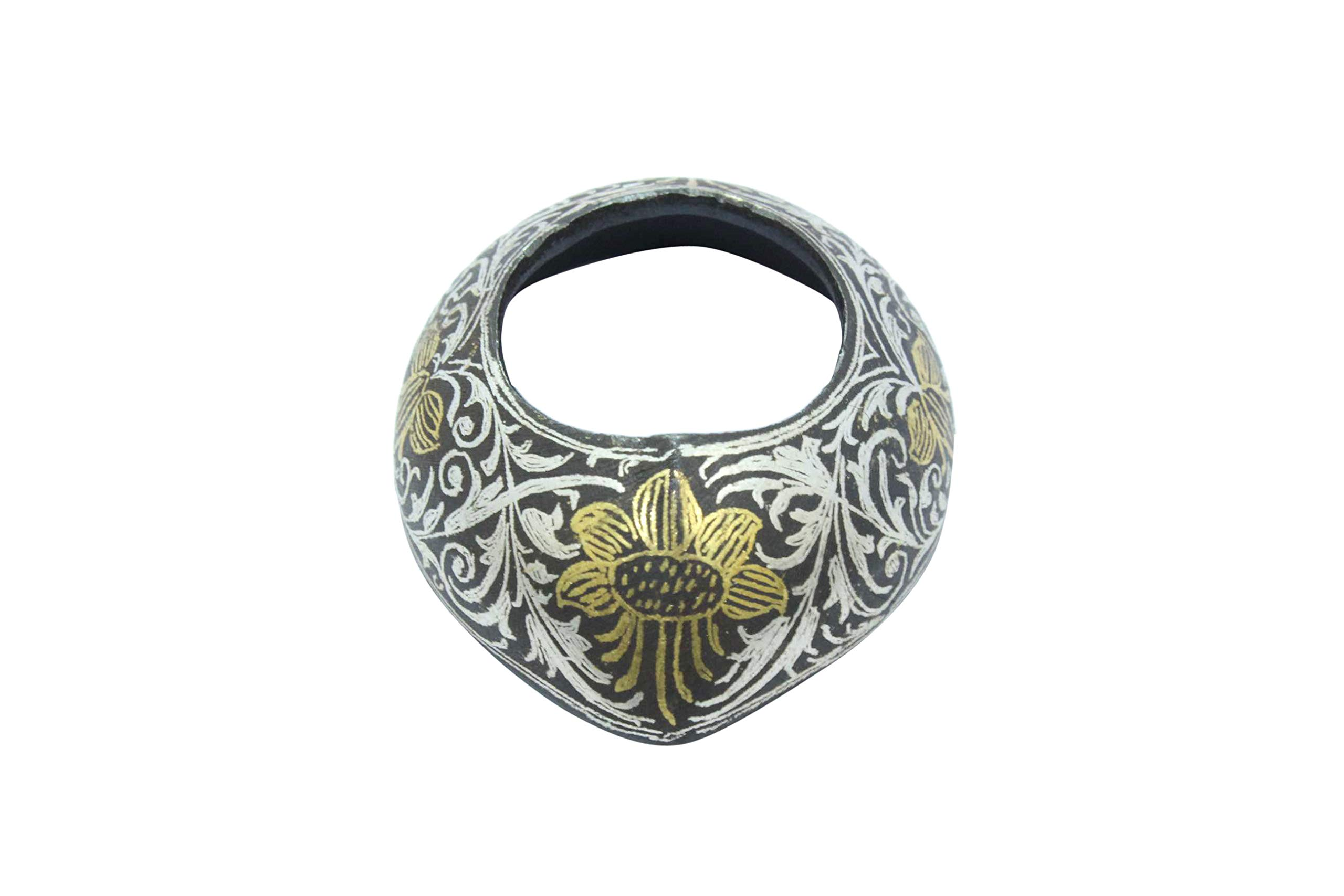 PH Artistic Steel Silver Gold Wire Work Thumb Archery Ring Bow Shooting Handmade Size 11 1/2 by PH Artistic