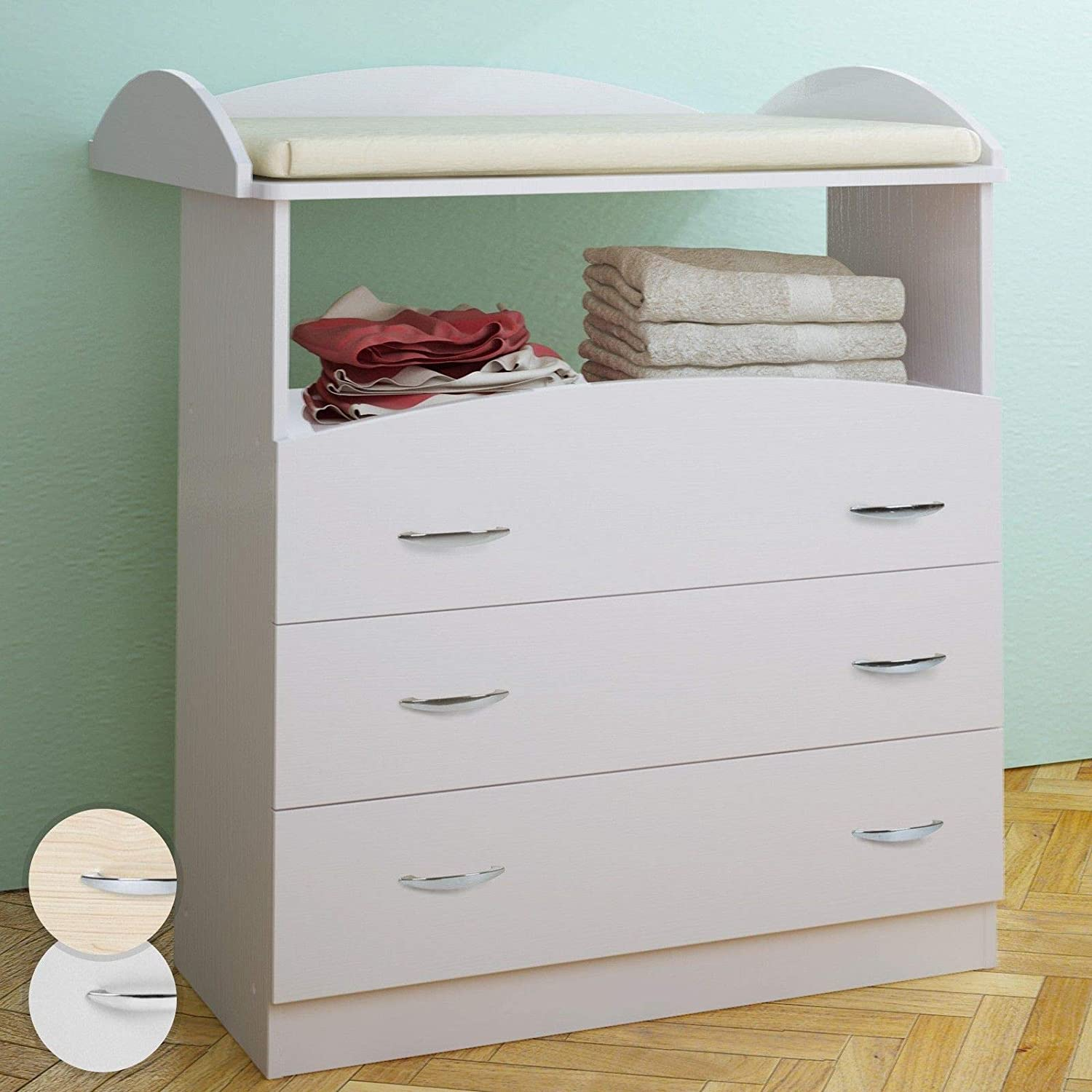 Baby Changing Table Unit 3 Drawers Chest Storage Nursery Furniture 85 x 71 x 96 cm (Beech) FF Europe