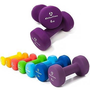 Pesas de neopreno »Peso« / Mancuernas disponibles en diferentes pesos y colores / 4 kg, violeta: Amazon.es: Deportes y aire libre