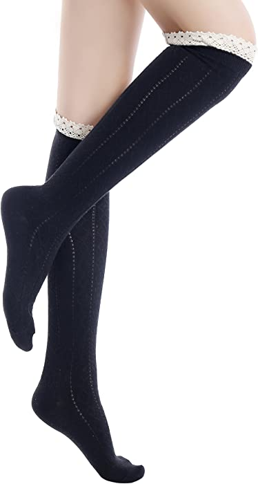 2cc31cffe45 Amazon.com  ICONOFLASH Women s Diamond Pattern Knee High Boot Socks ...