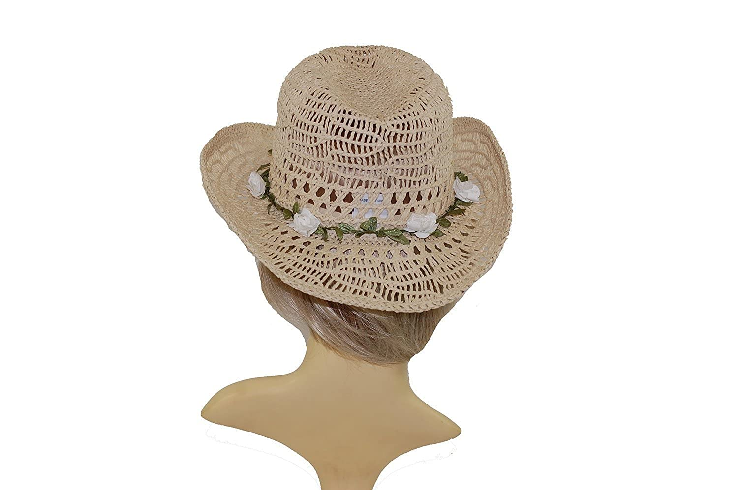 Womens Ladies Shapeable crushable Straw Cowboy Hat with garland band 57cm one size.