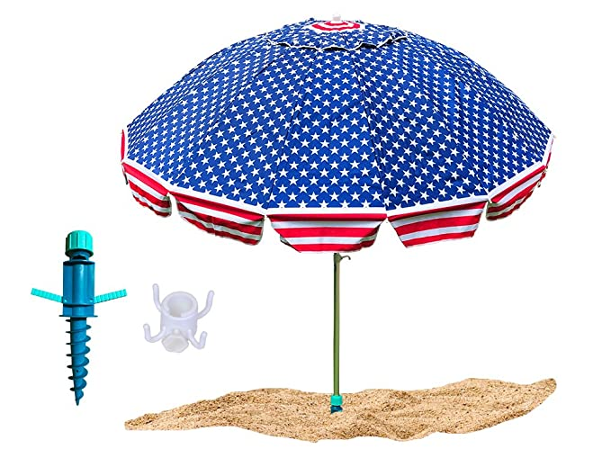 Party With Pride Giant 8' Beach Umbrella/Includes Large Sand Anchor/Hanging Hook/Carry Bag/UV Protection for Sun and Outdoor/Windproof/Adjustable & Telescoping (American Flag)