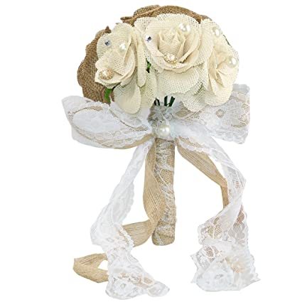 Amazon.com: Rustic Wedding Bouquet Burlap Flower Bouquets: Home ...