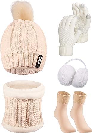Knit Hat Scarf Gloves Earmuffs Stockings 5 Pieces Women Winter Ski Outing Set