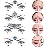 RUIYELE 4 Pcs Face Jewels Self Adhesive Jewels Headpiece Crystal Face Gems Stickers Self-adhesive Rhinestone Stickers Gems Crystal Bling Craft Jewels Gems Sticker for Crystal Face