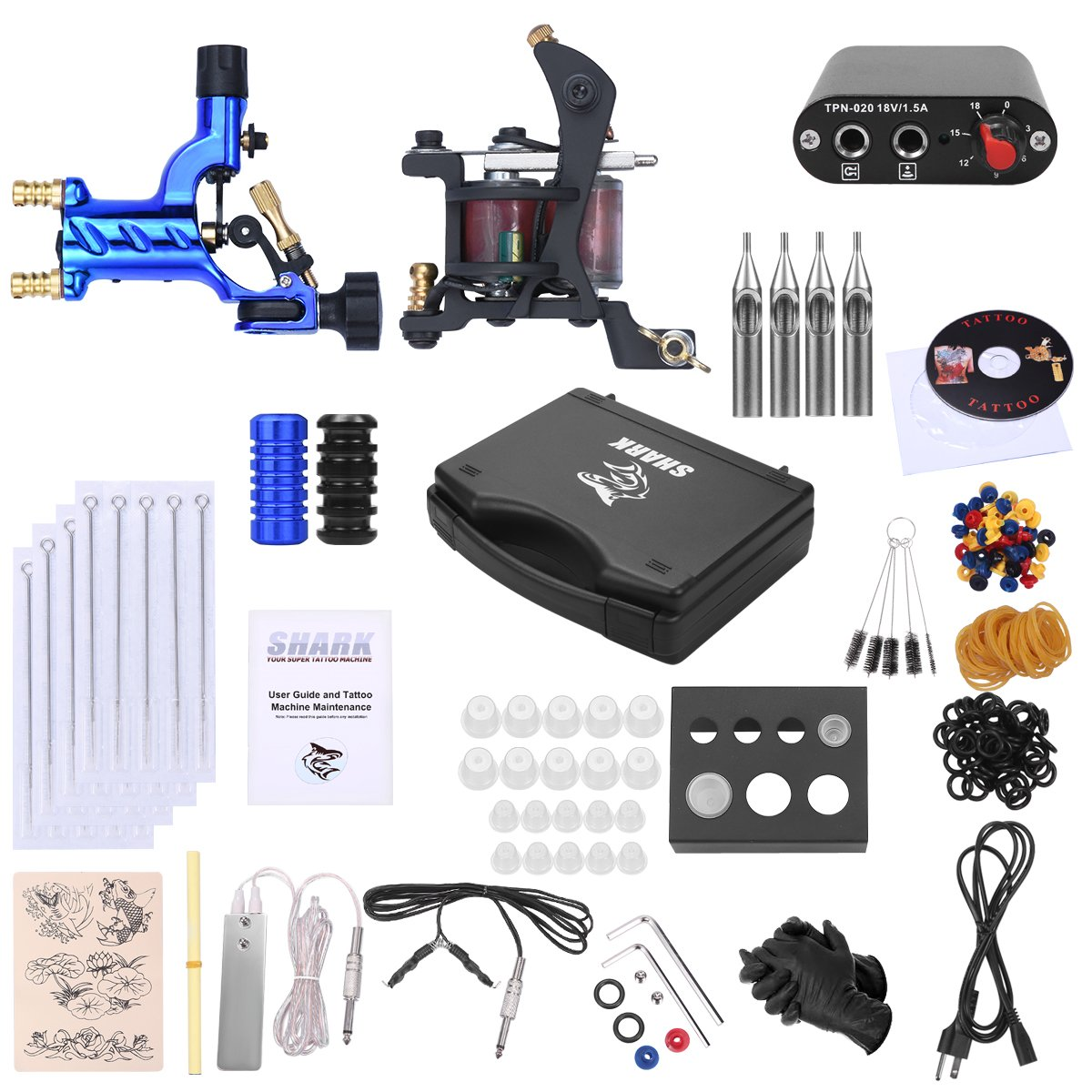 Shark Complete Pro Rotary Tattoo Kit Machines Gun with Plastic Carry Case Power Supply Needles Grips Tips by Shark (Image #1)