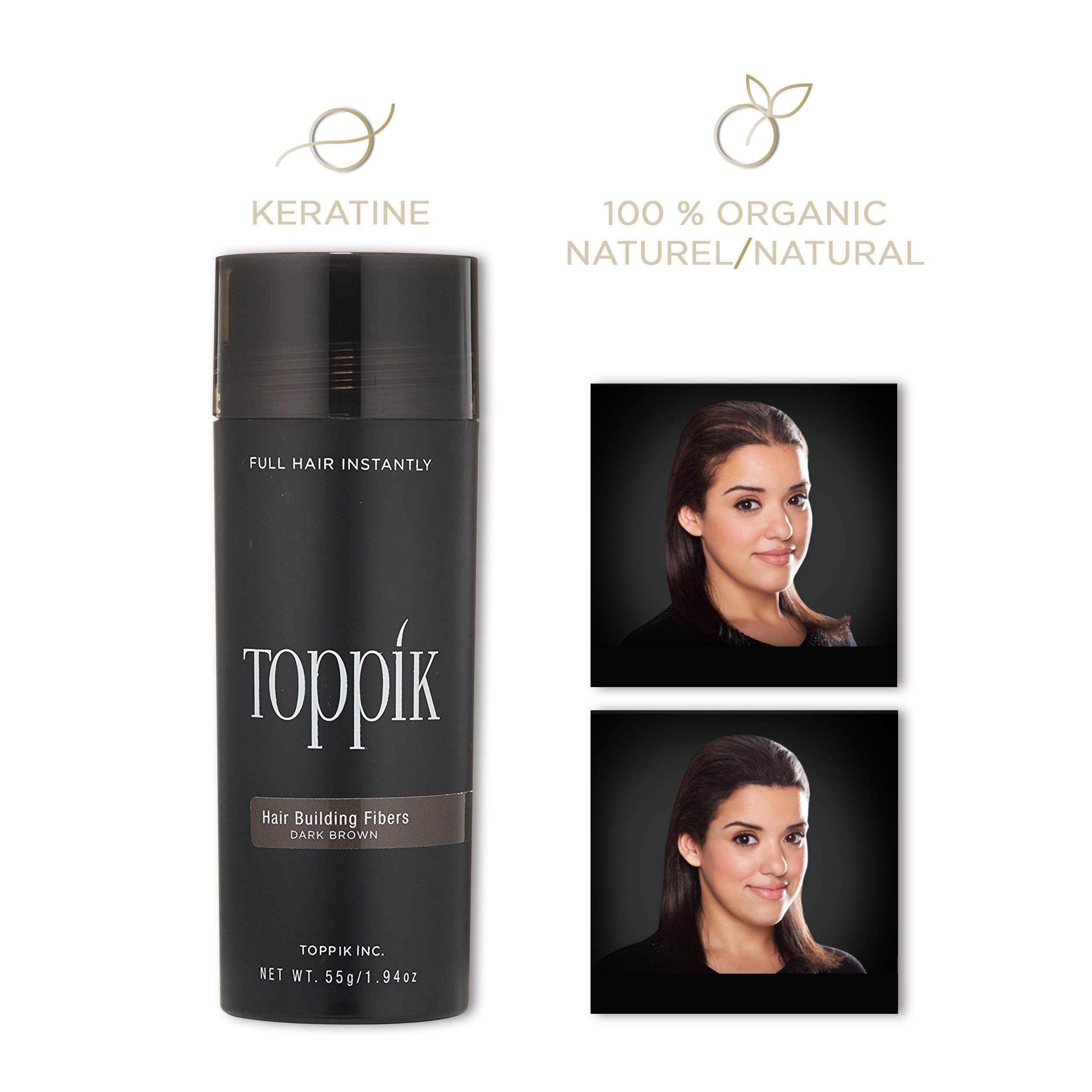 TOPPIK Hair Building Fibers, Dark Brown, 1.94 oz.