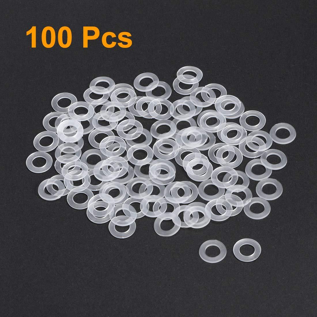 sourcing map arandelas planas de nylon para tornillo m4 tornillo 13mm od 1mm espesor claro 300pcs