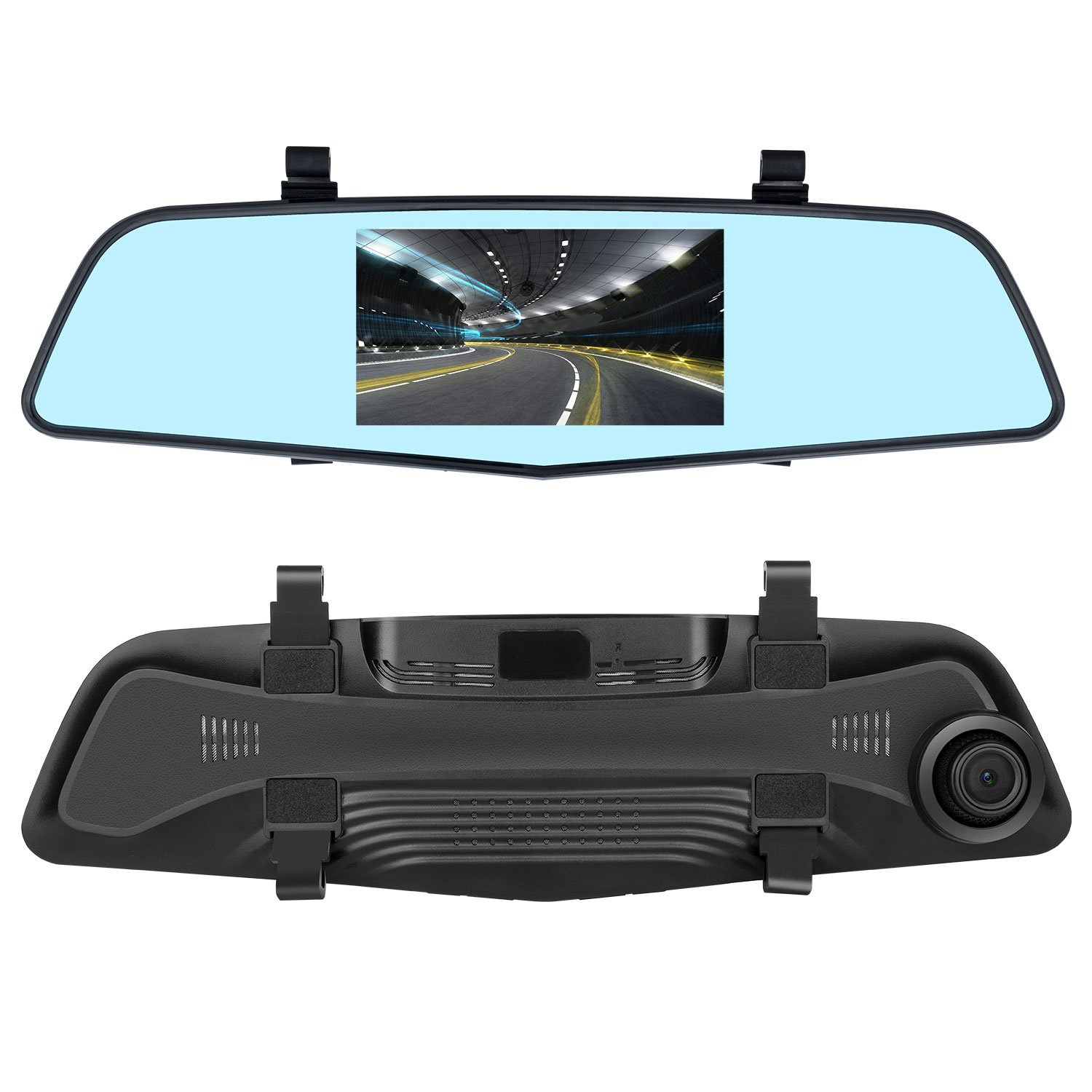 Upgraded - EHOOM Mirror Dash Camera A2, Front View HD Mirror Camera, 4.3'' Touch Screen, 4-Lane 140° Wide-Angle View Lens, Car DVR with G-Sensor, Loop Recording, Parking Monitor, Night Vision