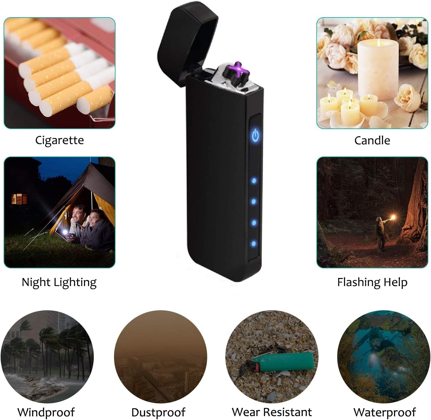 Electric Touch Switch Lighter Upgrade Version with Power Indicator for Ignition Outdoor BBQ Funxim Lighter Windproof Plasma Igniter Candle USB Rechargeable Double Arc Lighter Kitchen