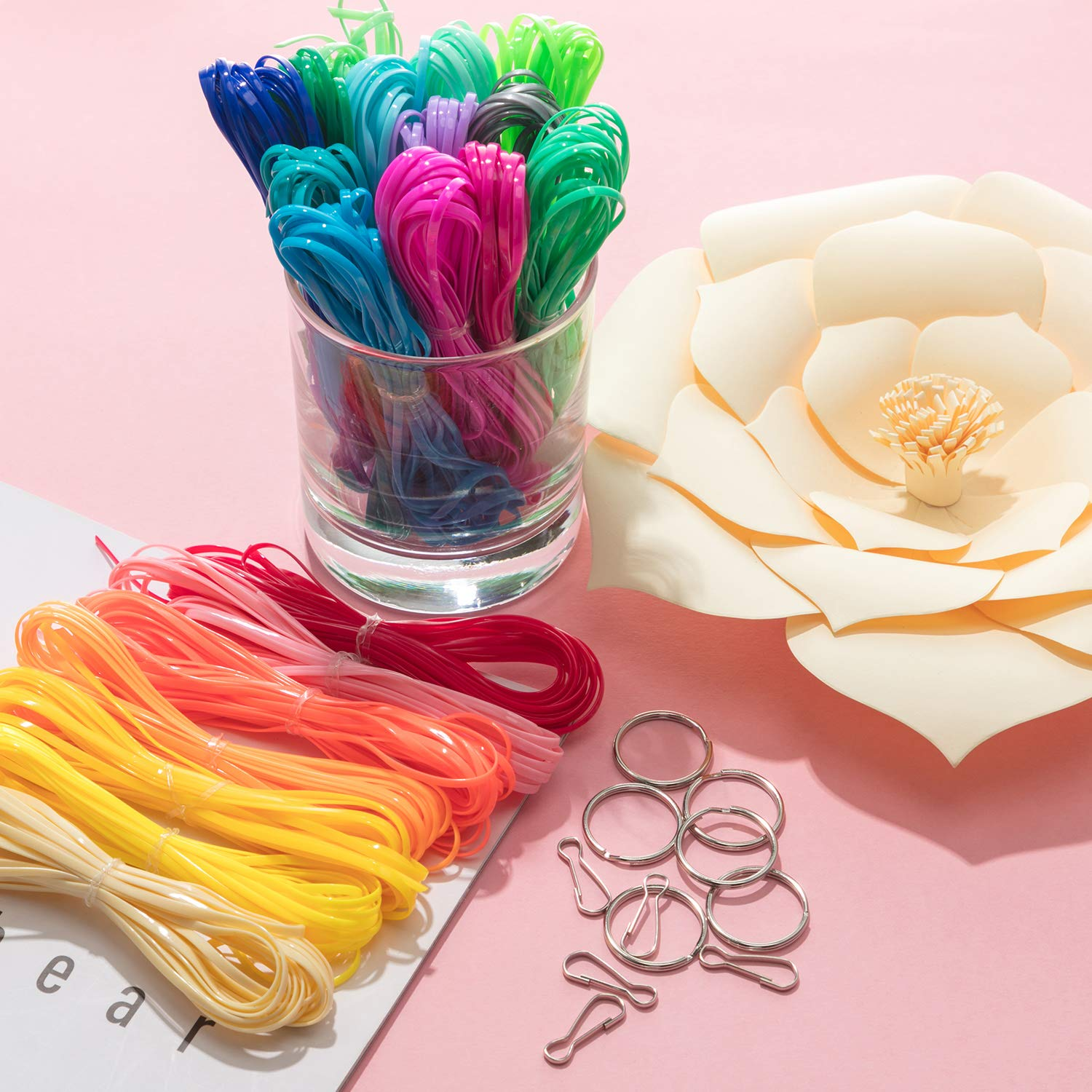 eBoot 20 Colors Plastic Lacing Cord Plastic Gimp Ropes for Bracelet DIY Craft Jewelry Making with 40 Pieces Snap Clip Hooks 328 Feet