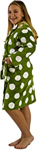 BY LORA Polka Dotted Girls Robes Cotton Bathrobes, Robes for Girls, Green, Medium