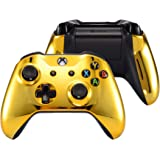 eXtremeRate Chrome Gold Top Shell Front Housing Faceplate Replacement Parts with Side Rails Panel for Xbox One X & One S…