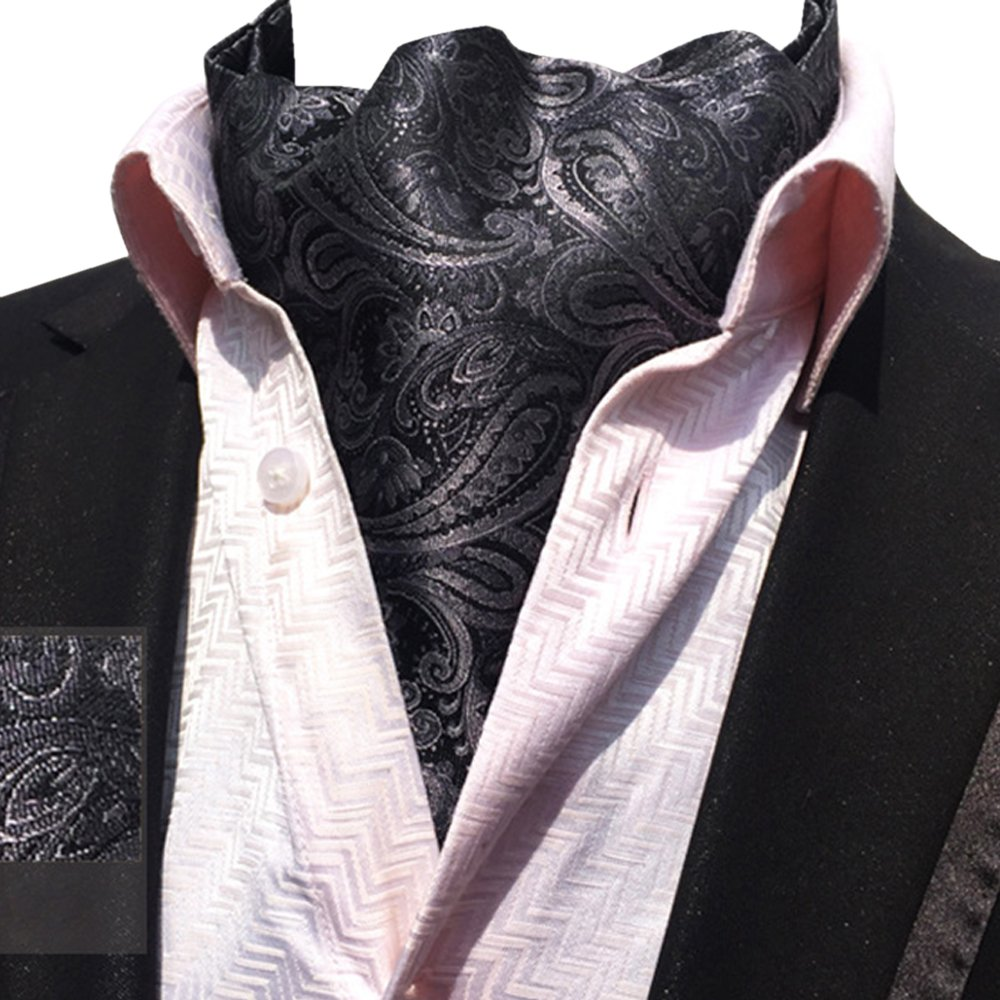 YCHENG Mens Floral Jacquard Ascot Paisley Jacquard Patterned Scarf Necktie