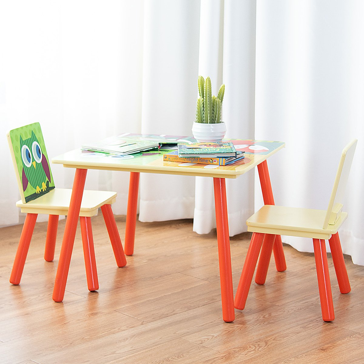 Costzon Kids Table and 2 Chair Set, Wooden Table Furniture for Children Toddler