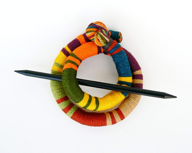 Ponytail holder Stick slide fork Geometric hair clip Tribal shawl brooch Ethnic Bold bun hair clamp
