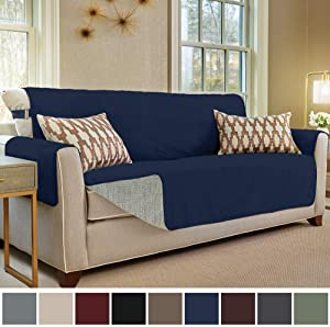 Gorilla Grip Original Slip Resistant Sofa Slipcover Protector, Seat Width Up to 70 Inch Suede-Like, Patent Pending, 2 Inch Straps, Hook, Couch Cover for Kids, Dogs, Pets, Sofa, Navy Blue