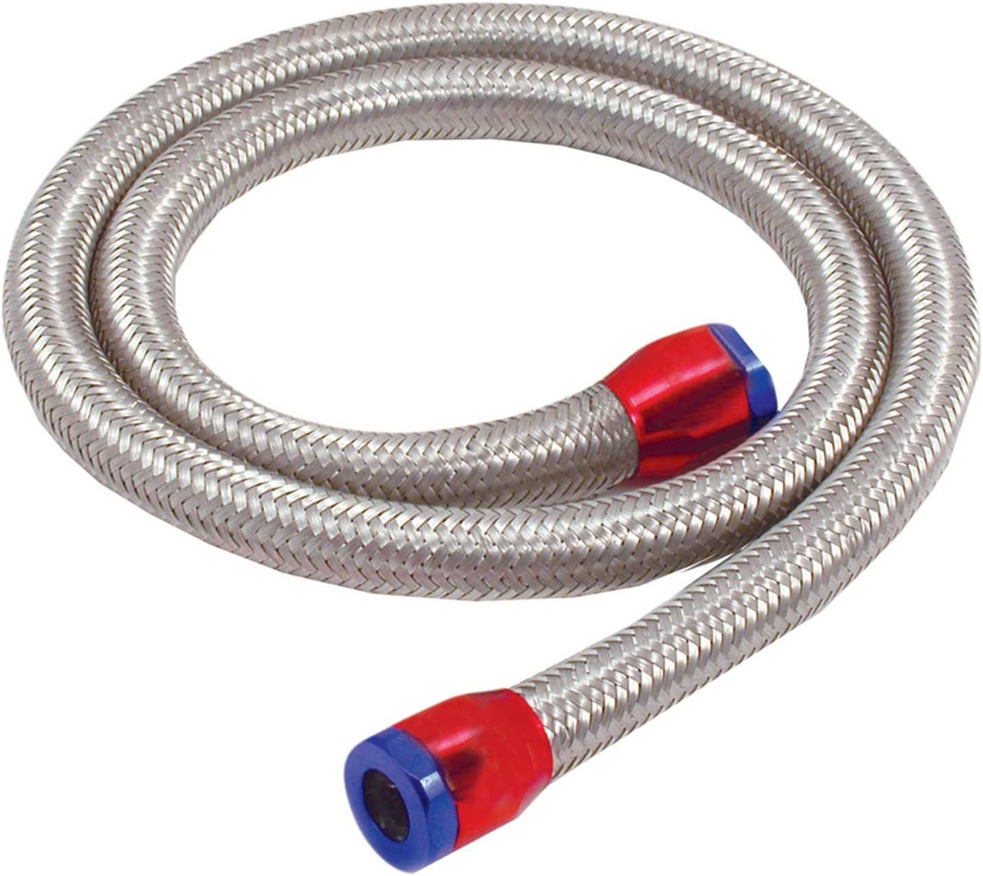 "Hose 5//16/"" I.D x 18/"" Stainless Steel Flexible BRAIDED FUEL LINE Chrome Clamps"