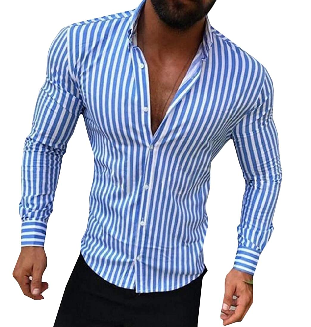 Hajotrawa Mens Long Sleeve Stripe British Style Casual Button Front Shirts