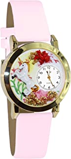 product image for Whimsical Watches Kids' C0420001 Classic Gold Unicorn Pink Leather And Goldtone Watch
