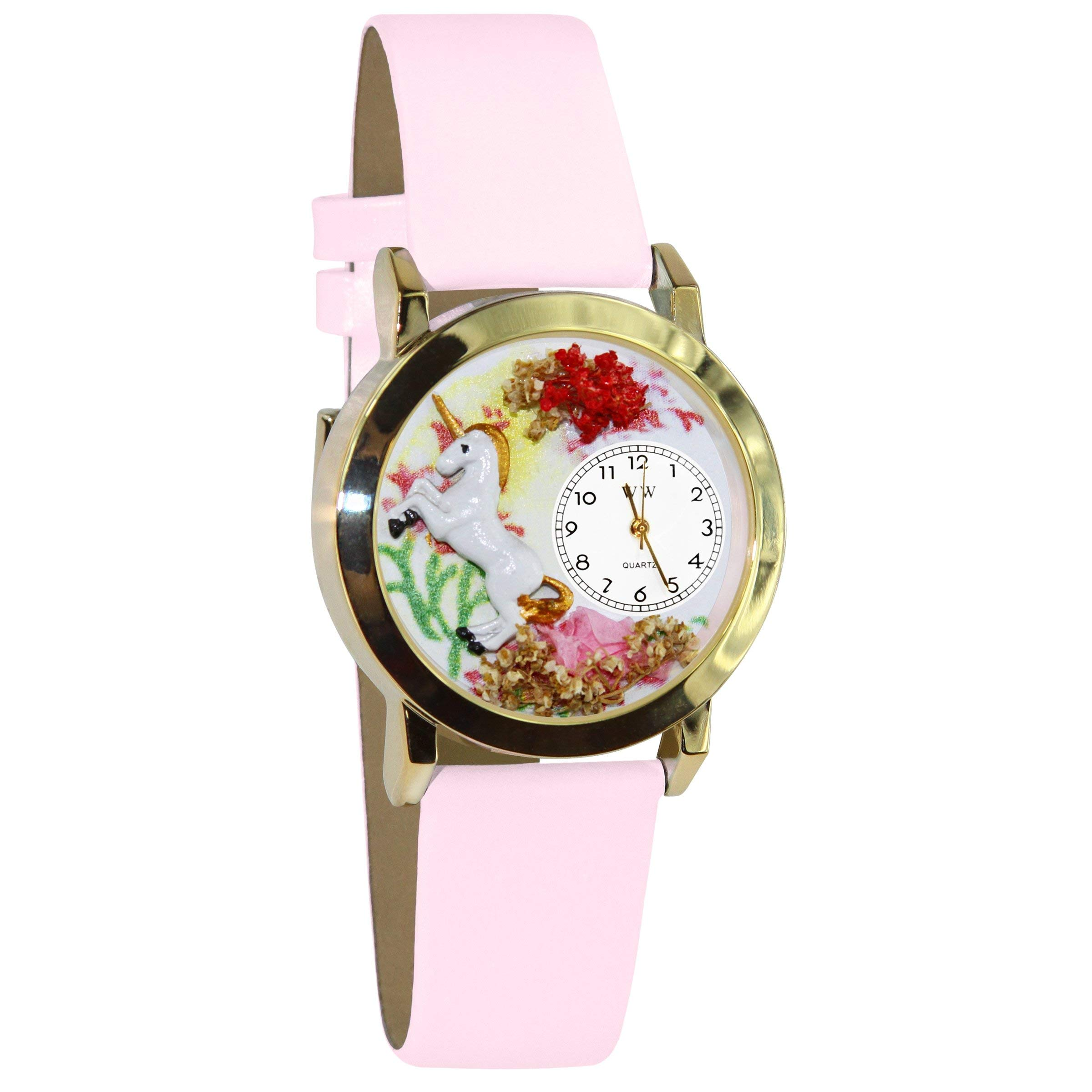 CDM product Whimsical Watches Kids' C0420001 Classic Gold Unicorn Pink Leather And Goldtone Watch big image