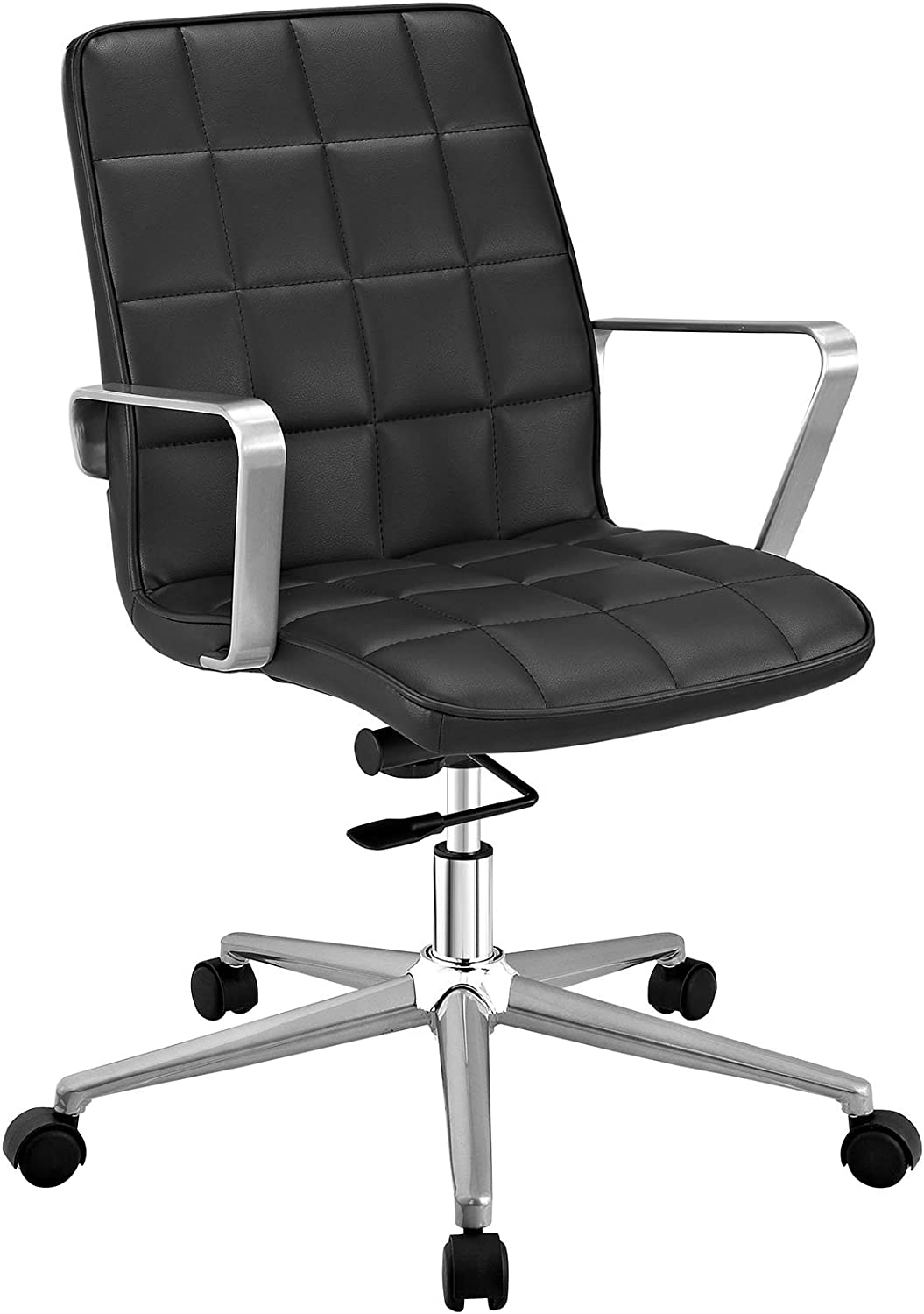 Modway Tile Square Stitched Faux Leather Mid-Back Office Chair in Black