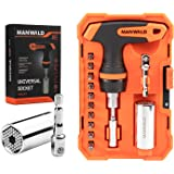 Universal Socket,7-19mm Multi-Function Tool Box,Adapter Socket for Wrench Ratchet & Power Drill,Screwdriver Sets,Mechanic Too
