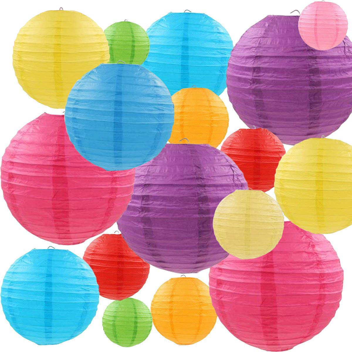 MYSWEETY 25 Packs Paper Lanterns Decorative with Assorted Colors and Multi Sizes for Party Decoration