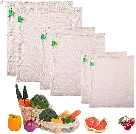 Gudotra 6pcs Sacs a Vrac R/éutilisables /à Fruits et L/égumes Sacs de Provisions Eco Lavable Sacs de Fruits en Coton per Rangement de Frigo