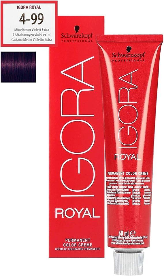 Schwarzkopf Igora Royal 4-99 - Tinte para el cabello (60 ml), color castaño medio violeta