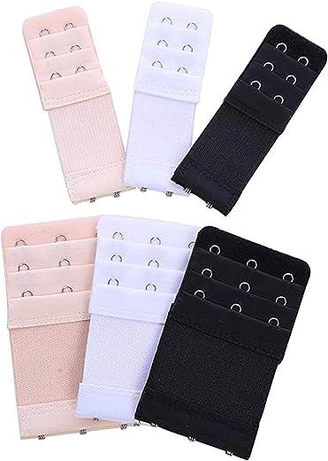 مجموعة مونيكو مكونة من 6 قطع من وصلات تمديد أحزمة حمالة الصدر المرنة 3 صفوف × 3 خطاف، 3 صفوف × 2 خطاف، أسود/بيج/أبيض، مقاس M