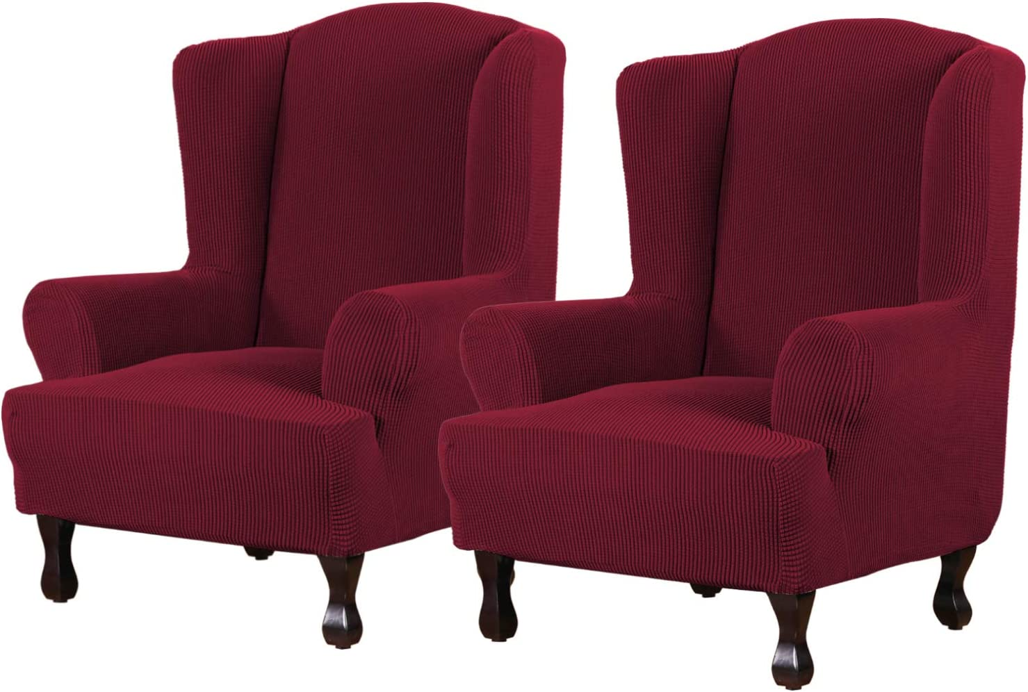 Super Stretch Stylish Furniture Cover/Wingback Chair Cover Slipcover Spandex Jacquard Checked Pattern, Super Soft Slipcover Machine Washable/Skid Resistance (2 Pack Wing Chair, Burgundy Red)