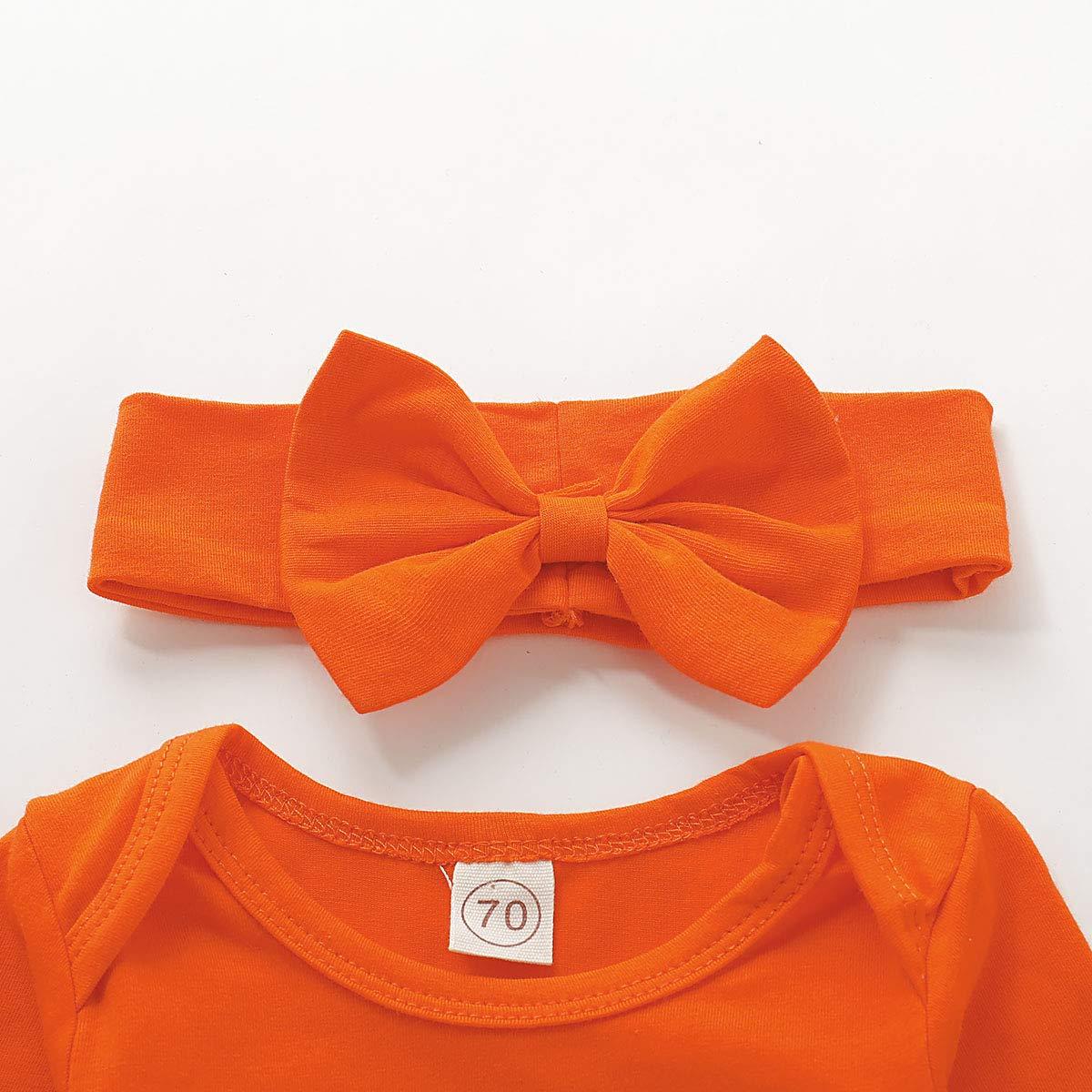 Dacestar 3PC Newborn Baby Girls Clothes My First Halloween Print Pumpkin Romper Outfits Set with Headband and Leg Warmer Sets