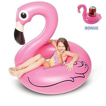 Kyerivs Flotador Flamenco para Niños y Adultos, Flamenco Hinchable De Piscina, Flamenco Colchonetas Piscina para Baños De Sol - Bonus Flamingo Drink ...