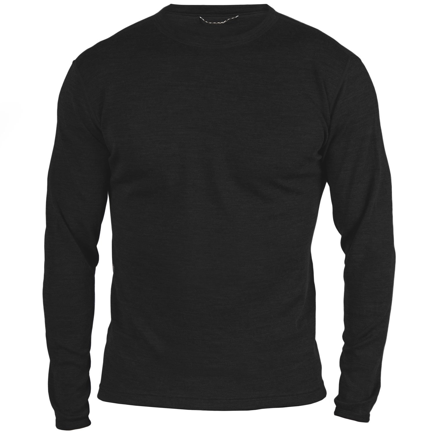 MERIWOOL Men's Merino Wool Midweight Baselayer Crew - Black/S