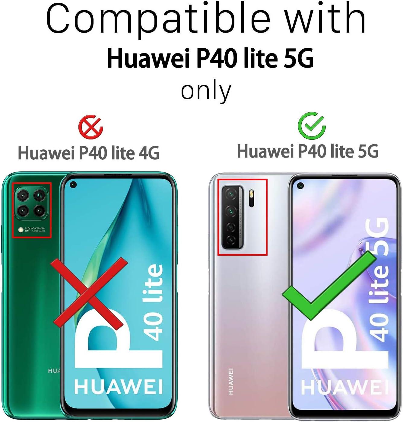 2ndSpring Coque avec Collier Compatible avec Huawei P40 Lite 5G//Nova 7SE,Tour de Cou Lani/ère en Corde Pendentif Housse,Bleu