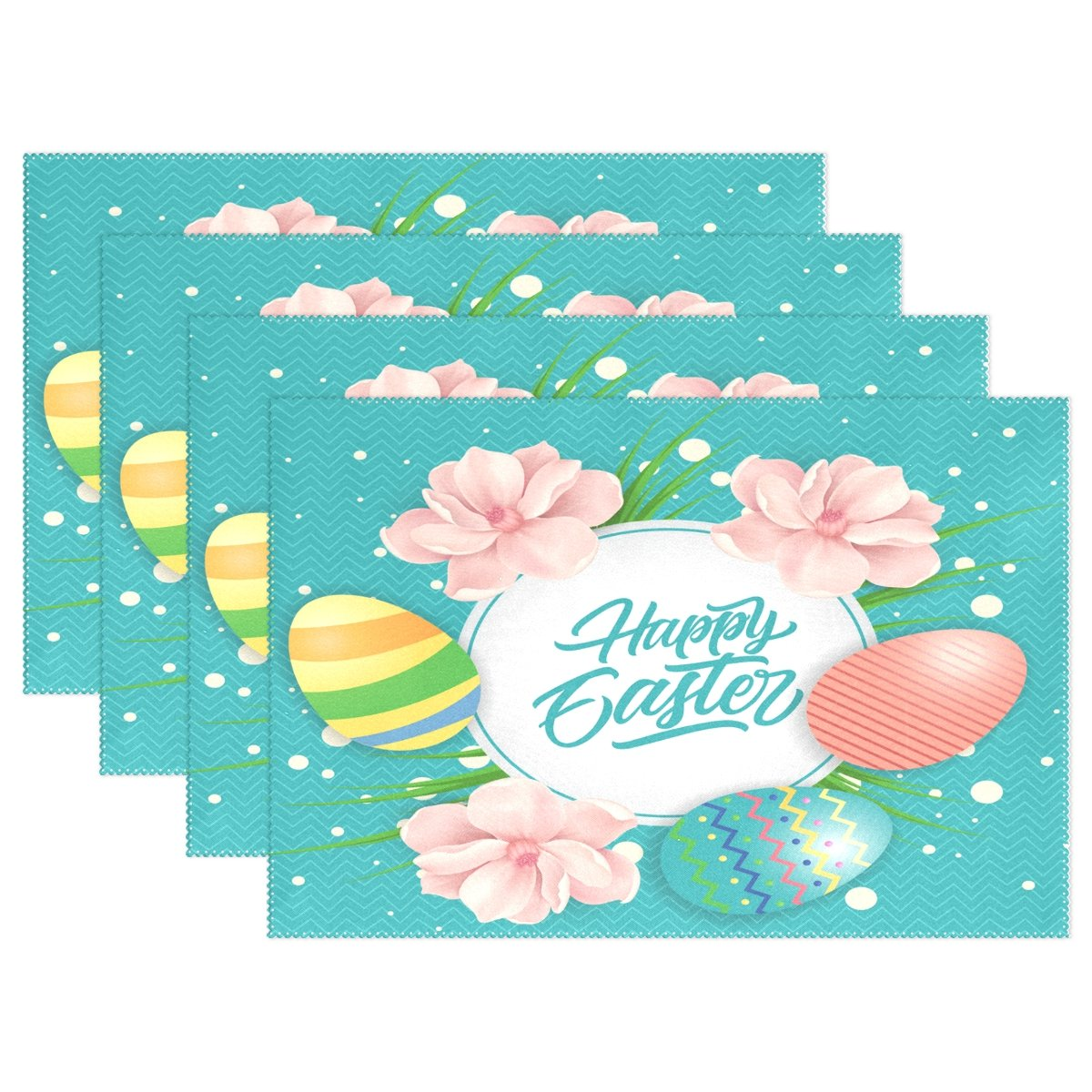Alaza Happy Easter Eggs And Flowers Placematプレートホルダーのセット1、ポリエステルテーブルの配置マットプロテクターキッチンダイニングルーム12